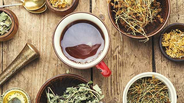 Tasse mit Tee und Kräuter ringsum
