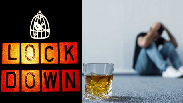 Mann trinkt Alkohol im Lockdown