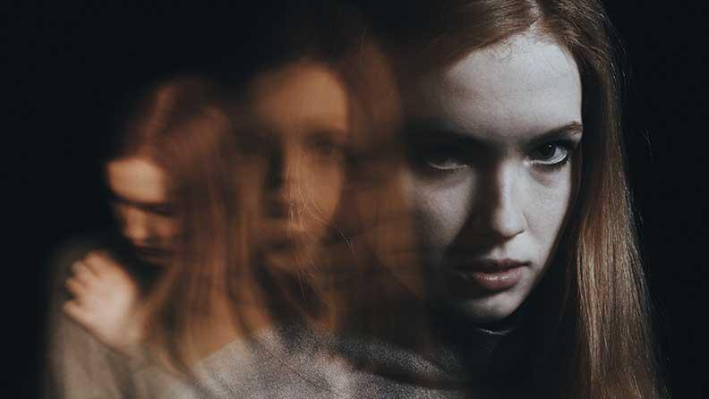 Illustration Frau mit Schizophrenie